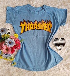 T-Shirt Fminina No Atacado Thrasher Azul