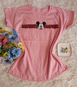 T-Shirt Fminina No Atacado Mickey Mouse  Rosa