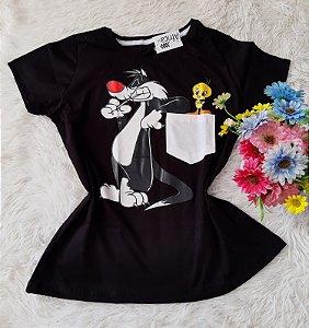T-Shirt Feminina No Atacado Frajola Piu-Piu No Bolso Preto