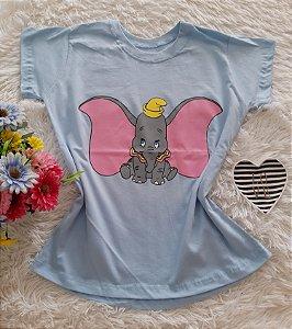 T-Shirt Feminina No Atacado Dumbo Fundo Azul