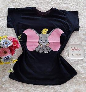 T-Shirt Feminina No Atacado Dumbo Fundo Preto