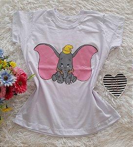 T-Shirt Feminina No Atacado Dumbo Fundo Branco