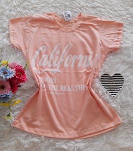 T-Shirt Feminina No Atacado California Fundo Salmon