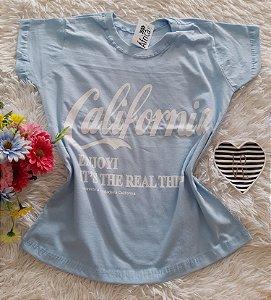 T-Shirt Feminina No Atacado California Fundo Azul