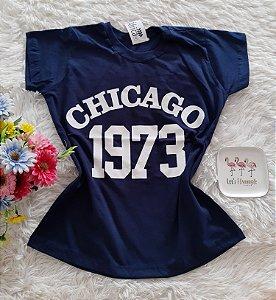 T-Shirt Feminina No Atacado Chicago Fundo Marinho