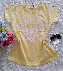 T-Shirt Feminina No Atacado Chicago Fundo Amarelo