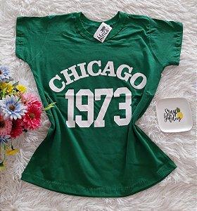 T-Shirt Feminina No Atacado Chicago Fundo Verde