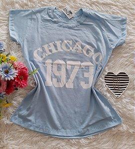 T-Shirt Feminina No Atacado Chicago Fundo Azul