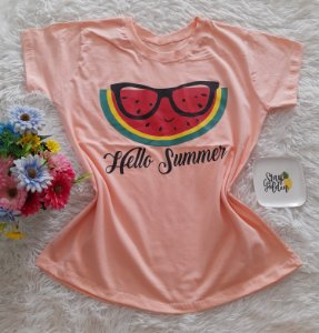 T-Shirt Feminina No Atacado Melancia Fundo Salmon