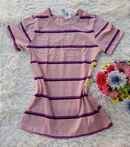 T-Shirt Botões no Atacado Listrada Rosa