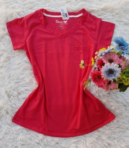 T-Shirt Feminina no Atacado  Básica Bolso Pink