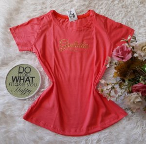 T-Shirt Feminina No Atacado  Gratidão Coral