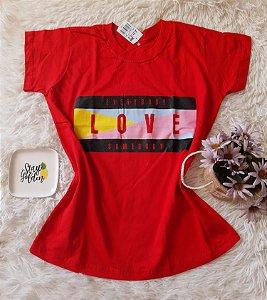 Camiseta no Atacado Love Vermeha