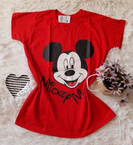 Camiseta no Atacado Mickey Rosto Vermelha