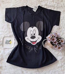 Camiseta no Atacado Mickey Rosto Preta