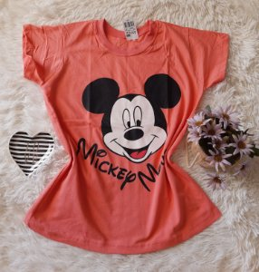 Camiseta no Atacado Mickey Rosto Rosa