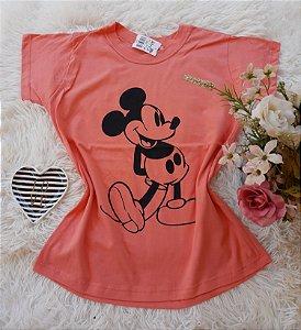T-Shirt Feminina Mickey Grande Coral