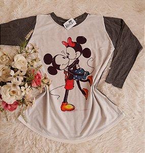 Blusa Manga Longa Minnie Mickey Grafite