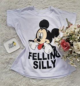 Camiseta  No Atacado Mickey Felling Silly Branca