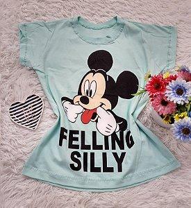 Camiseta  No Atacado Mickey Felling Silly Verde