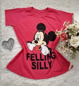 Camiseta  No Atacado Mickey Felling Silly Rosa