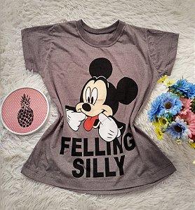 Camiseta  No Atacado Mickey Felling Silly Cinza