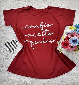 Camiseta No Atacado Confio Aceito Agradeço Vermelho