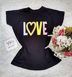 T-Shirt No Atacado Love Fundo Preto