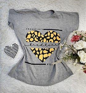 Camisa  No Atacado Coração Onça Cinza