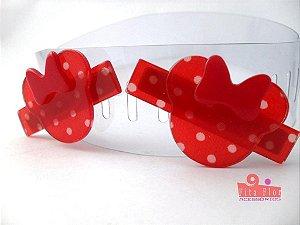 Bico de Pato (Par) Coleção Bichinhos Fita Flor Acessórios. Minnie Poá (Lacinho Vermelho Acetinado)