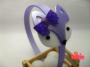 Tiara (Arco) Coleção Bichinhos Fita Flor Acessórios. Raposinha com Glitter
