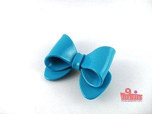 Presilha Coleção Laços Fita Flor Acessórios. Azul Turquesa Acetinado