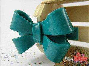Presilha Coleção Fita Flor. Azul Petróleo Acetinado