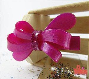 Presilha Coleção Fita Flor. Pink Acetinado com Gliter
