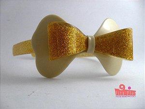 Tiara (Arco) Coleção Laços Fita Flor Acessórios. Dourado com Glitter
