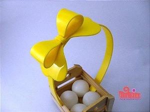 Tiara (Arco) Coleção Laços Fita Flor Acessórios. Amarelo Acetinado