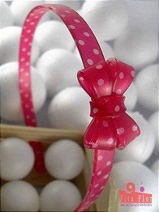 Tiara (Arco) Coleção Fita Flor. Laço Duplo Vermelho Petit Poá