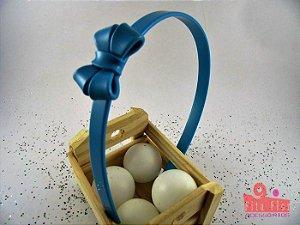 Tiara (Arco) Coleção Fita Flor. Laço Duplo Azul Turquesa