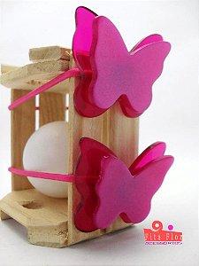 Maria Chica (Rabicó) Par. Coleção Bichinhos Fita Flor Acessórios - Cor Pink Acetinado. (Borboleta)
