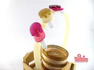 Lindo Kit (Tiara + Conj. de Pulseiras) Coleção Lúdica Fita Flor Acessórios - Trio Picolé (Multicor, Arco Perolado, Glitter)