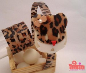 Lindo Kit (Tiara + Conj. de Pulseiras) Coleção Bichinhos Fita Flor Acessórios - Oncinha