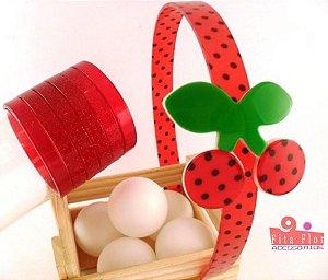 Lindo Kit (Tiara + Conj. de Pulseiras) Coleção Frutinha Fita Flor Acessórios - Cerejinha (Petit Poá)