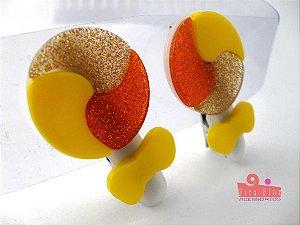 Bico de Pato (Par) Multicor - Coleção Lúdica Fita Flor Acessórios. (Pirulito: Amarelo, Laranja, Dourado) Glitter