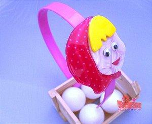 Tiara (Arco) Coleção Personagens Fita Flor Acessórios. Gorrinho de Poá Arco Rosa Bebê
