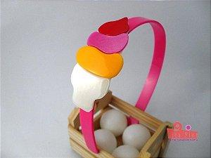 Tiara (Arco) Coleção Lúdica Fita Flor Acessórios. Sorvete Multicor Tipo Italiano (Perolado, Amarelo, Pink, Vermelho)
