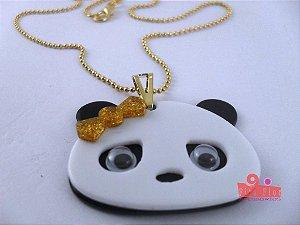 Colar Coleção Bichinhos Fita Flor Acessórios. Panda com Glitter