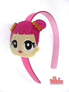 Tiara (Arco) Coleção Personagens Fita Flor Acessórios. L.O.L. Pink com Glitter