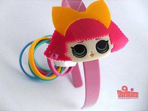 Lindo Kit (Tiara + Conj. de Pulseiras) Coleção Personagens Fita Flor Acessórios - L.O.L Orelhinha