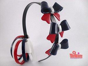 Lindo Kit (Tiara/Arco + Conj. de Pulseiras) Coleção Lacinhos Fita Flor Acessórios - Marinheiro
