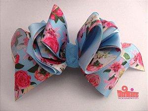 Laço Bico de Pato Coleção Tecido Fita Flor Acessórios. Fita de Gorgurão (Floral) 15cm